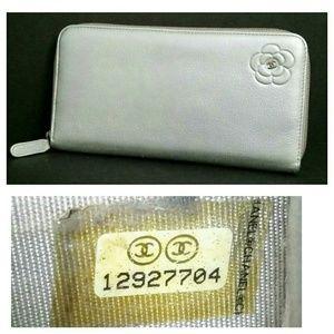 Authentic CHANEL Camellia Long Zip-Around Wallet
